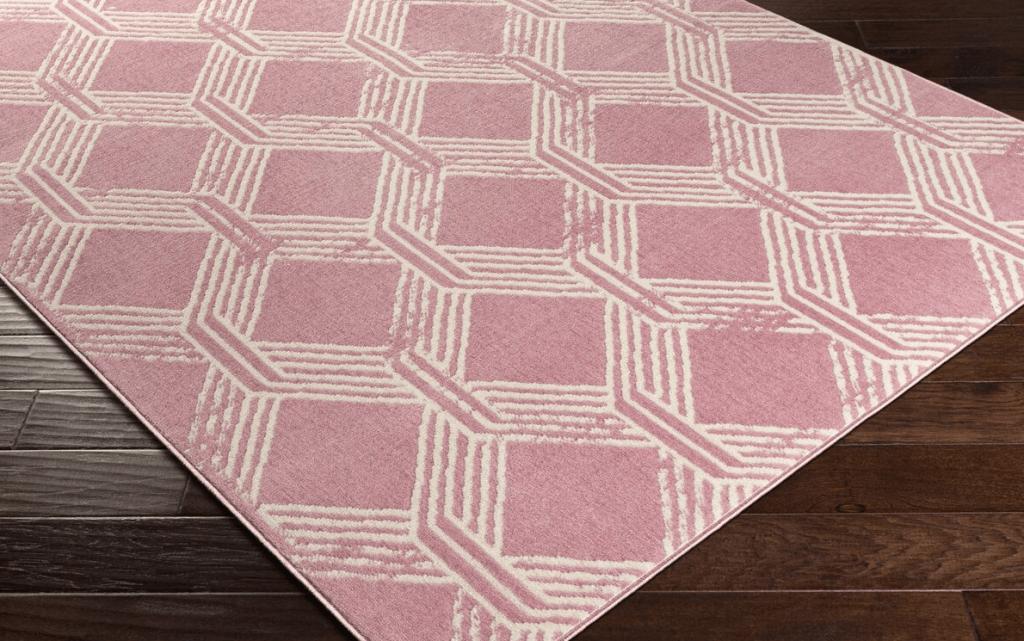 area rug on the floor