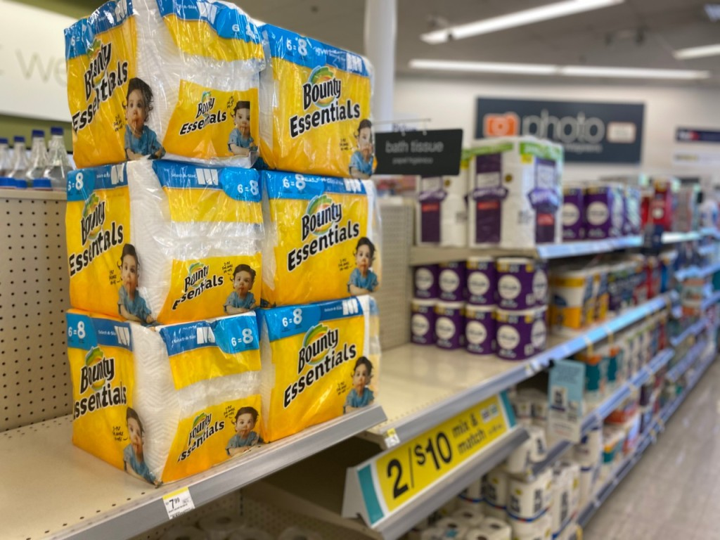 Bounty Paper Towels stacked on store shelf