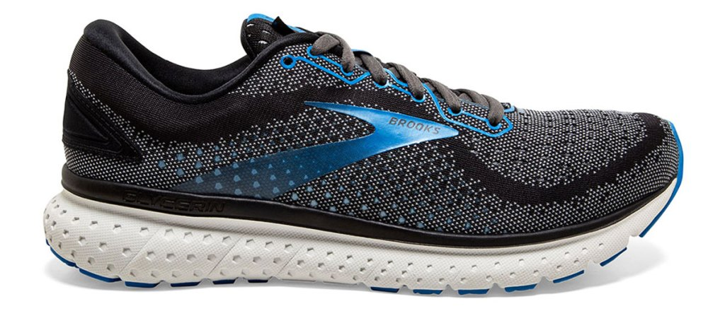 dark grey and blue running shoe