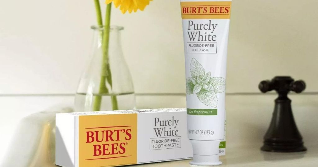 burt's bees adult toothpaste in a bathroom