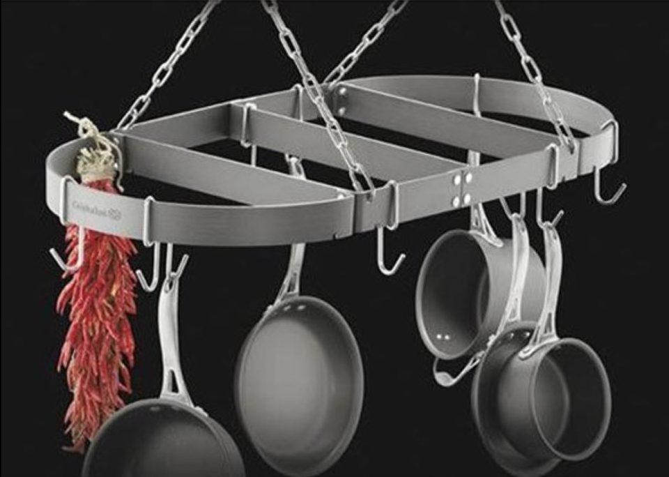 Calphalon Pot Rack with pots hanging on it