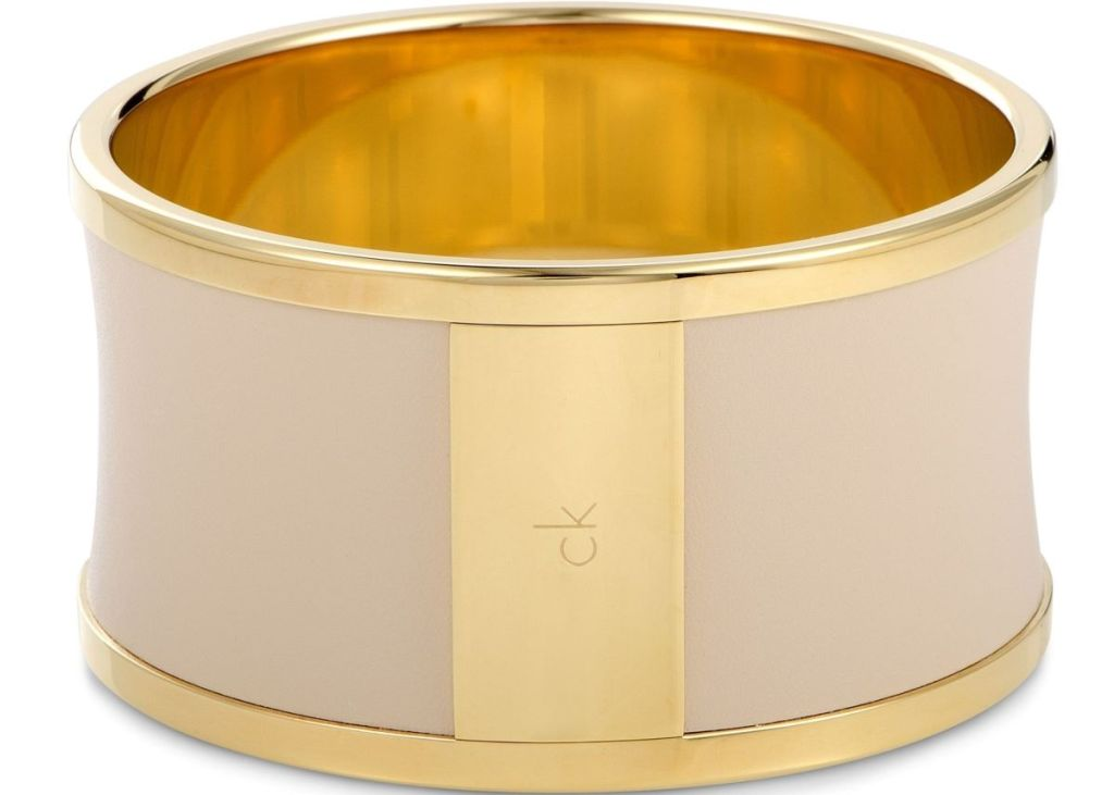 gold and tan bracelet