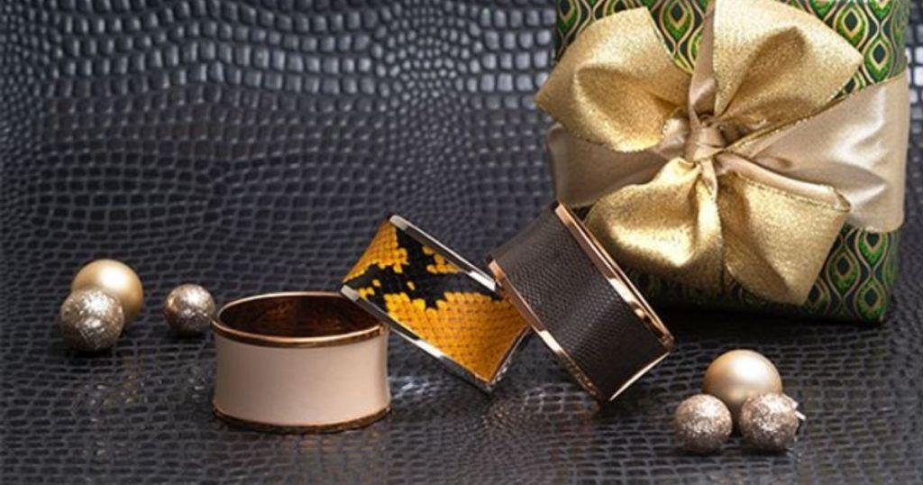 Calvin Klein Bangles next to a gift box
