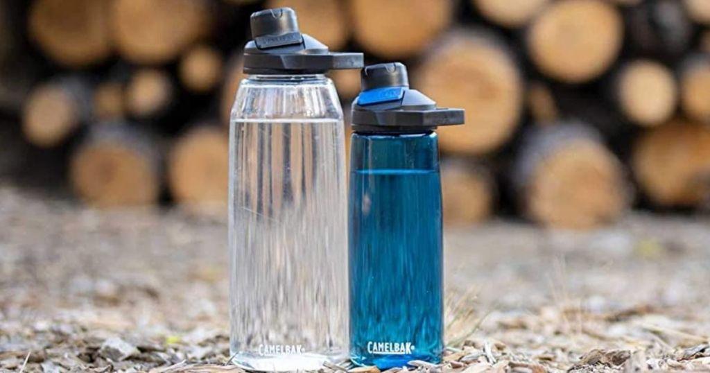 two CamelBak water bottles
