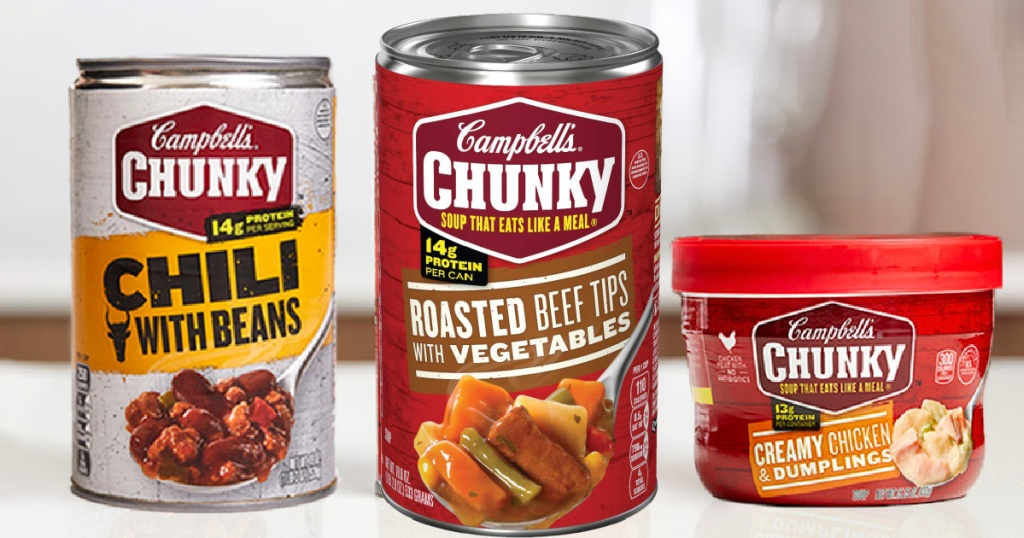 Campbell's Chunky Roasted Beef Tips can next to other soups