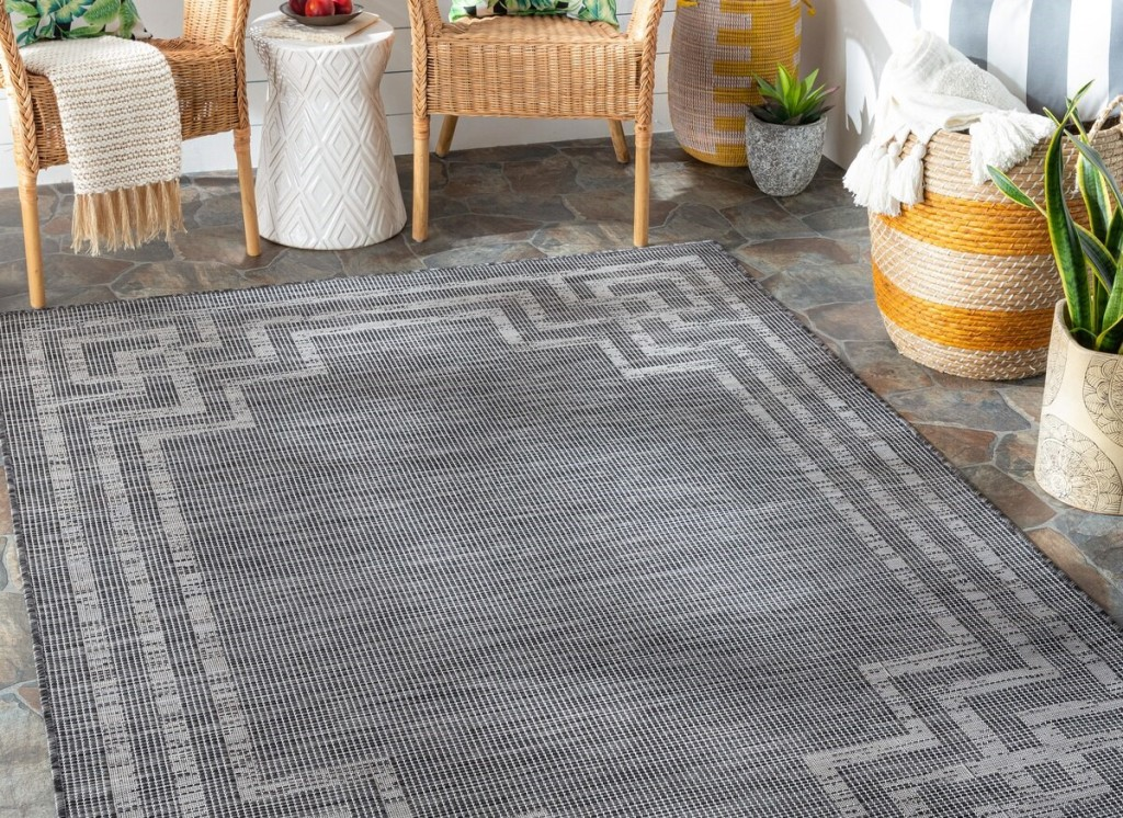 area rug on a porch