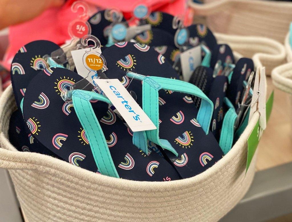 basket of kids flip flops