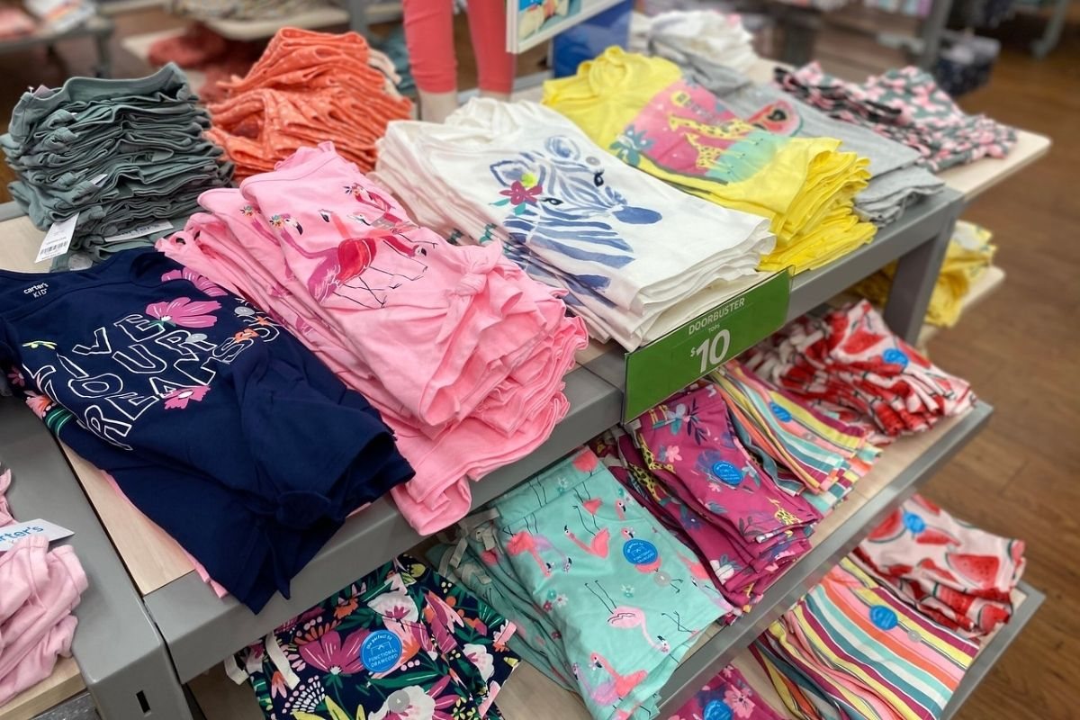 Carter's Girls Matching Tops and Shorts on display in store
