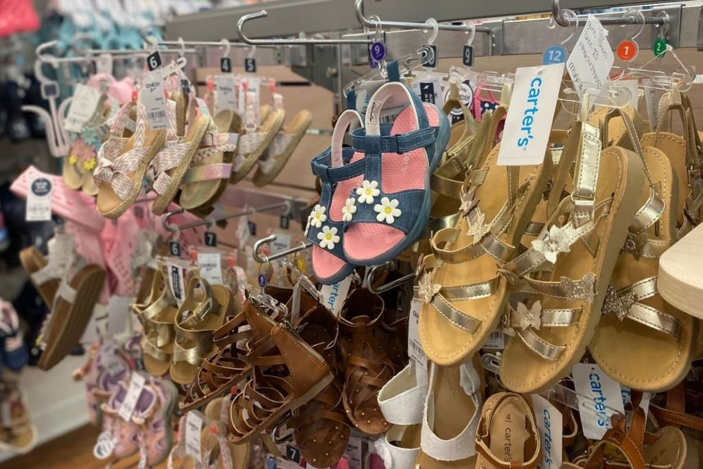 Carter's Girls Sandals hanging up in store