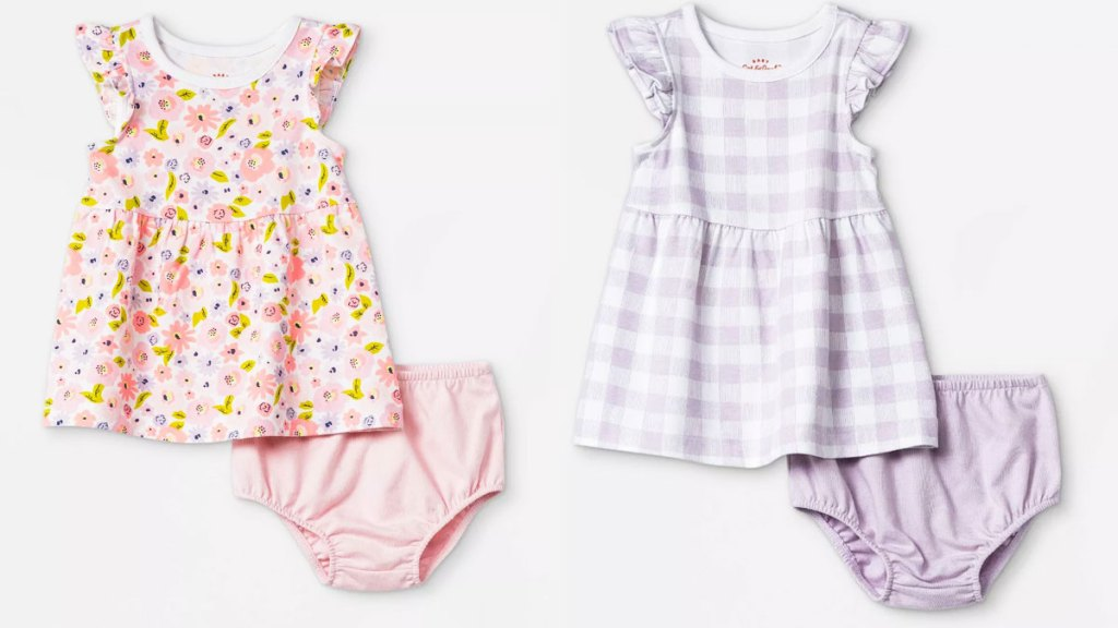 two baby girl dress sets