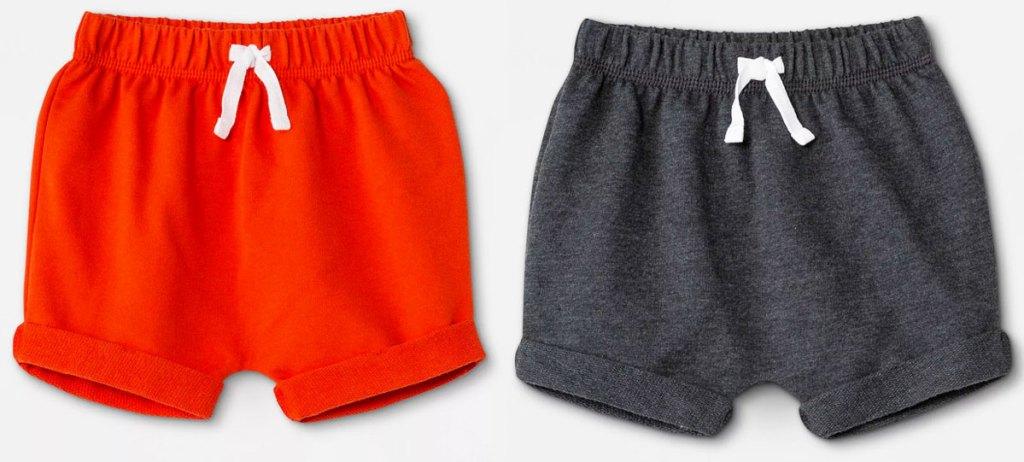 orange and grey pairs of baby shorts
