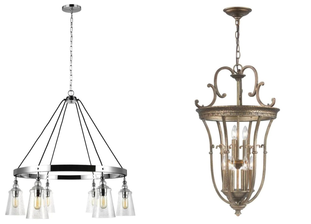 Chandeliers in two styles on white background