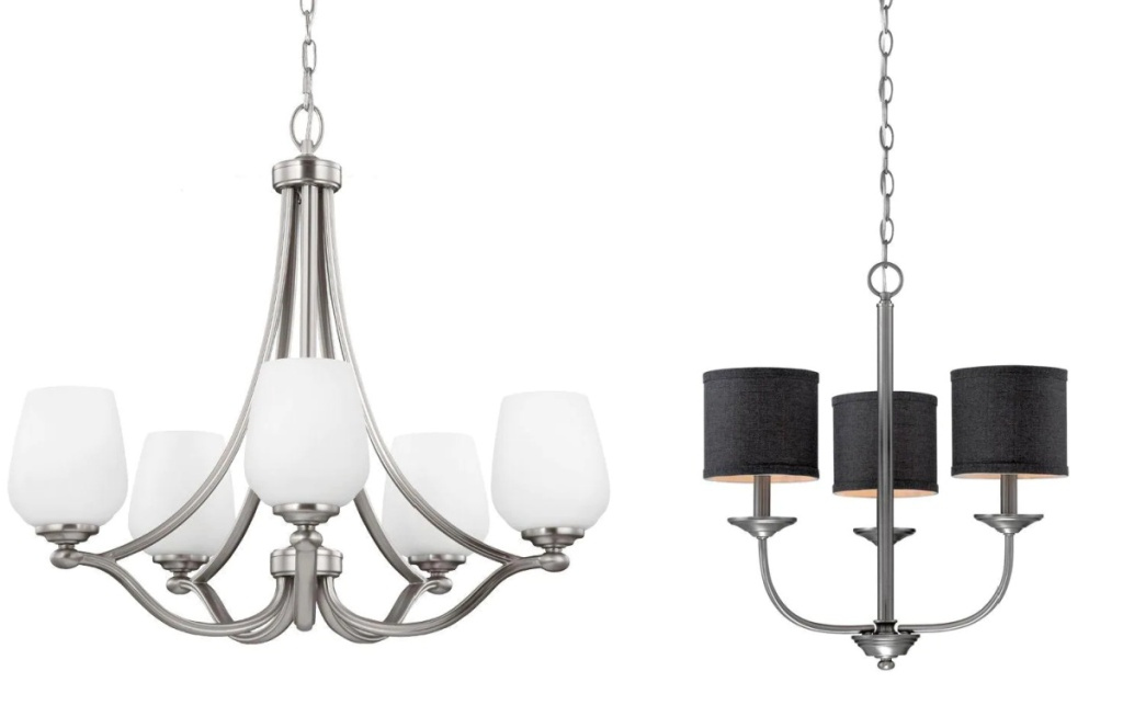 Two styles of hanging chandeliers