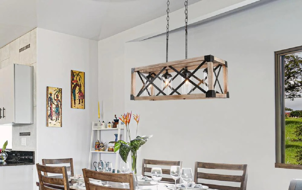 Chandelier hanging from ceiling in kitchen