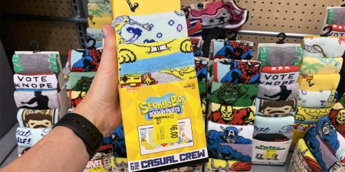 Men's Character Socks 6-Packs Possibly Only $6 at Walmart | SpongeBob, Marvel & More