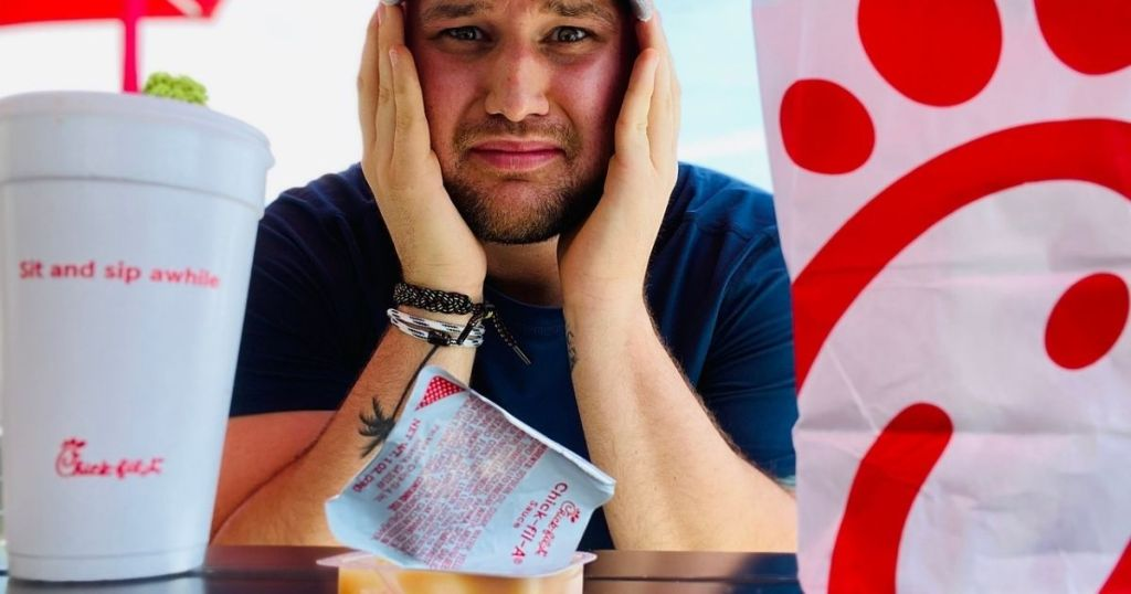 Man looking concerned about Chik-Fil-A sauce