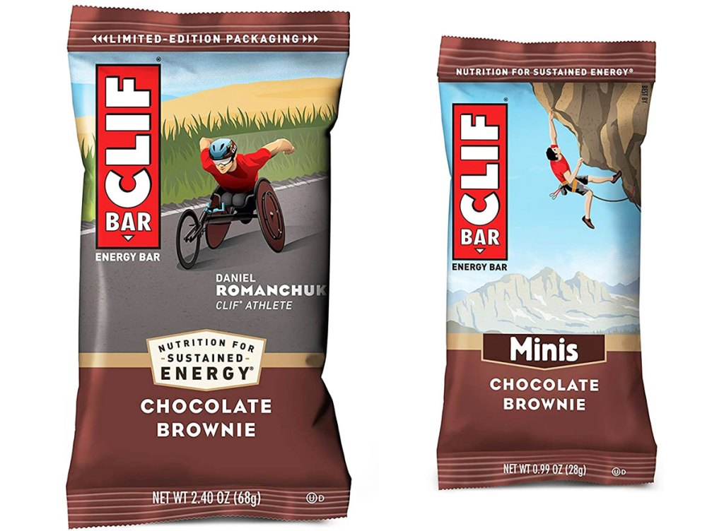 full size and mini clif bars in chocolate brownie flavor