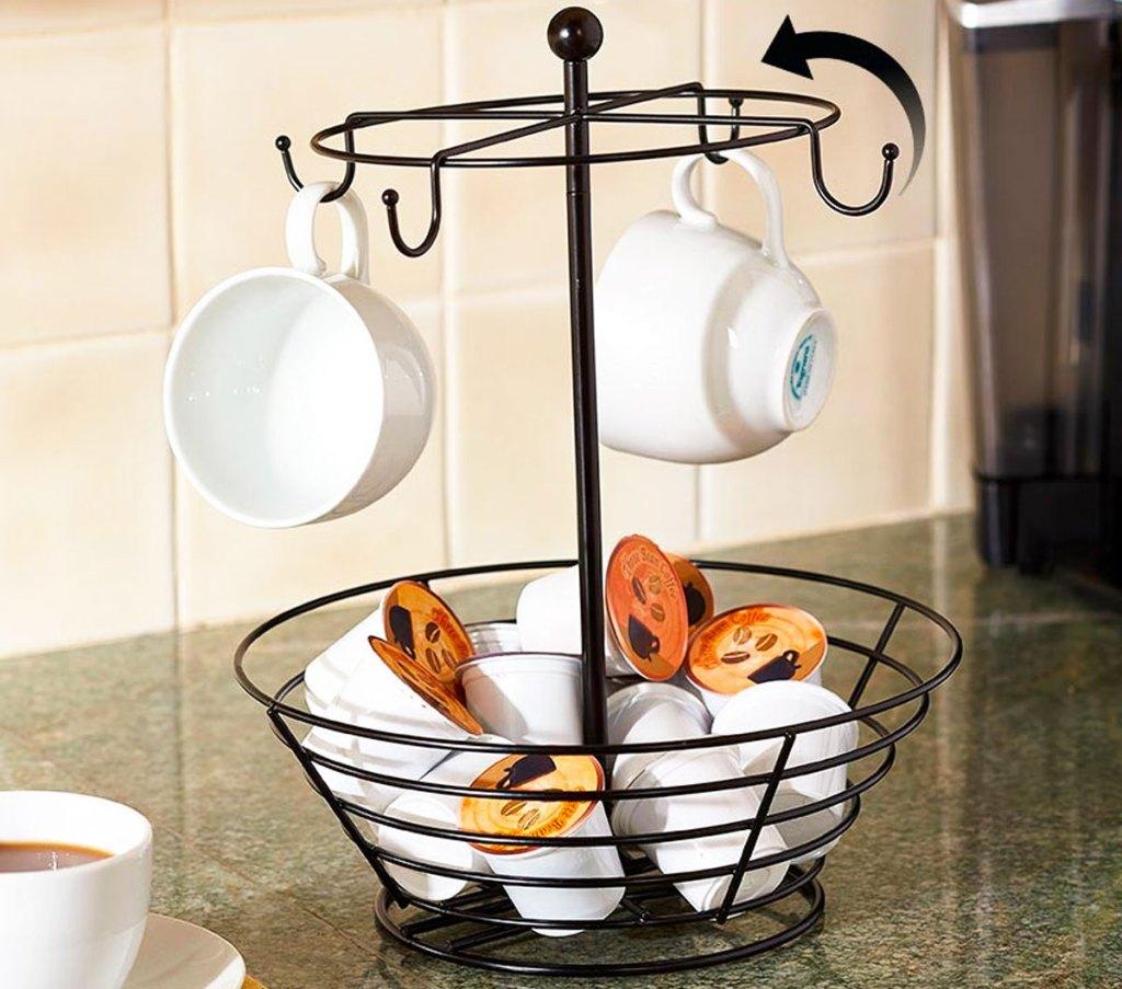 black k-cup basket with hanging coffee mugs