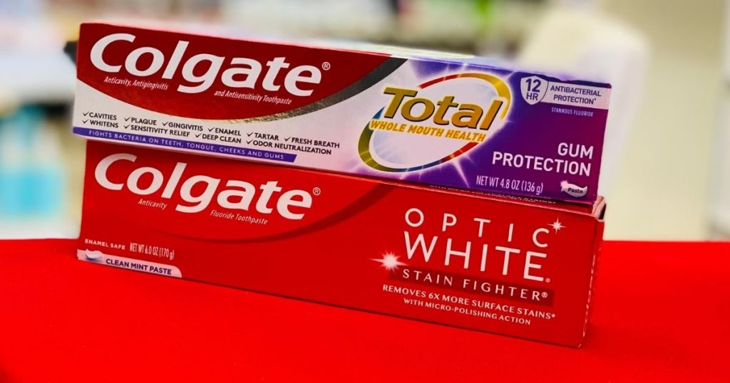 two Colgate toothpastes