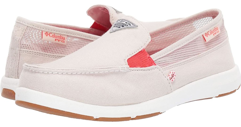 pair of womens slip on boat style shoes