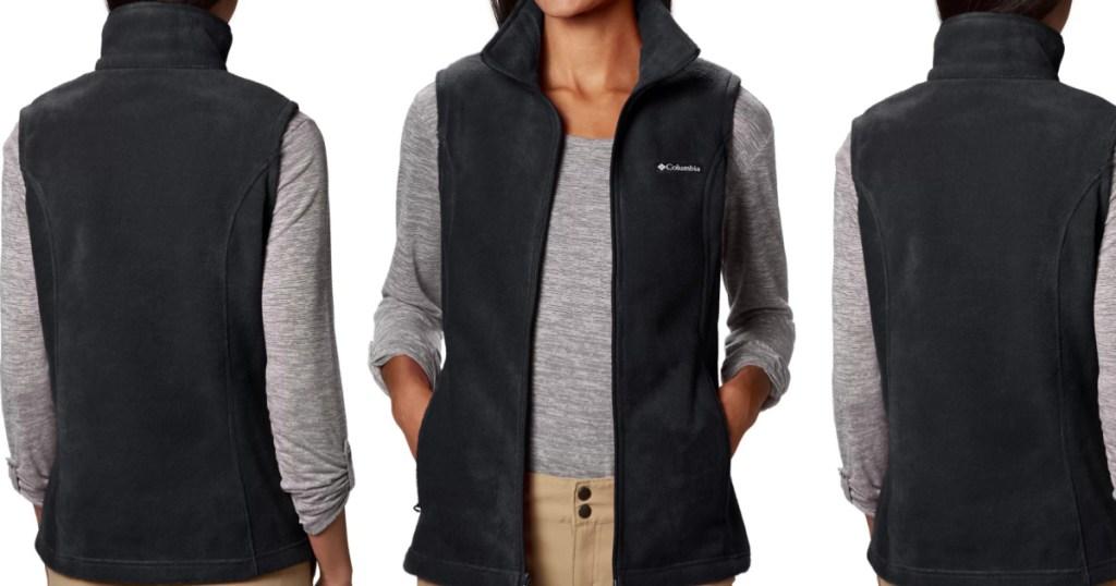 three women wearing plush vests