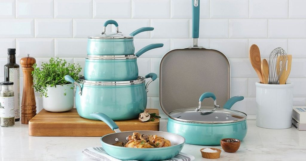 cookware set on a kitchen counter