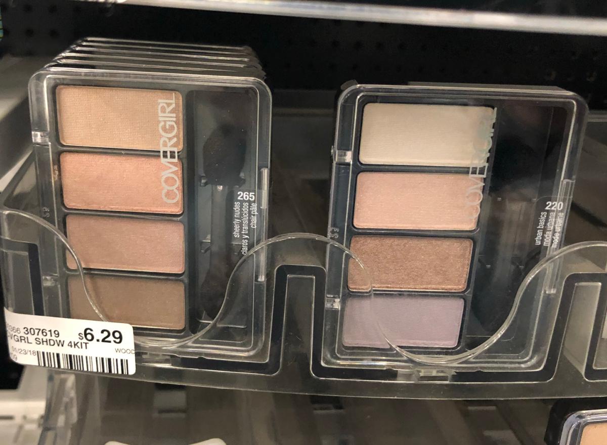in-store display of eyeshadows