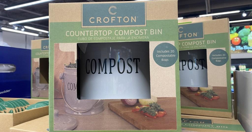 countertop style compost bin in packaging