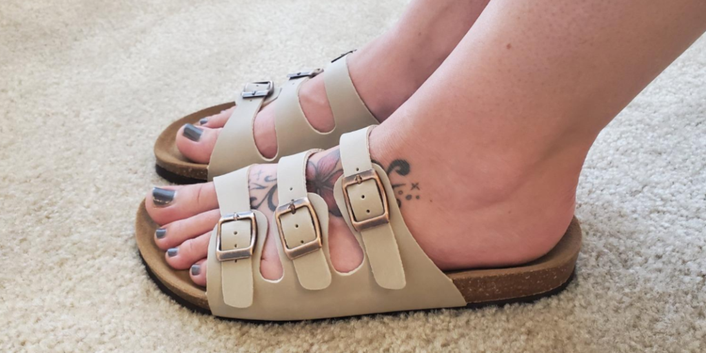 person wearing sandals