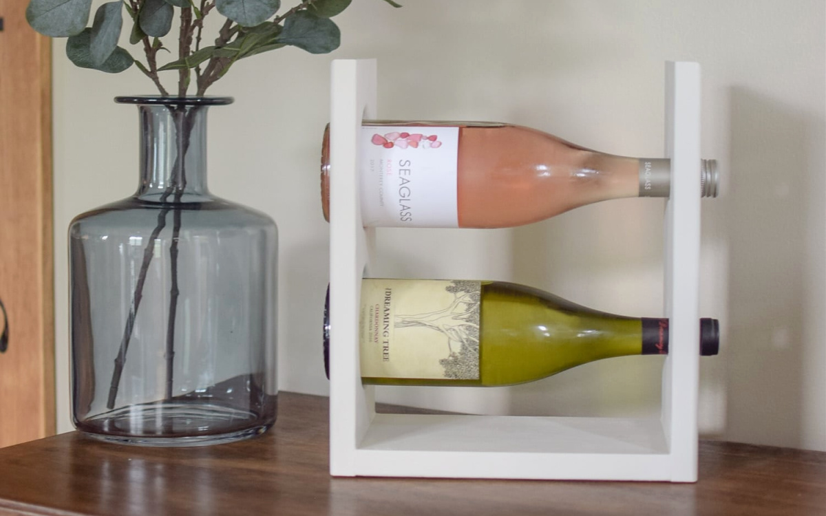 white wine rack on table