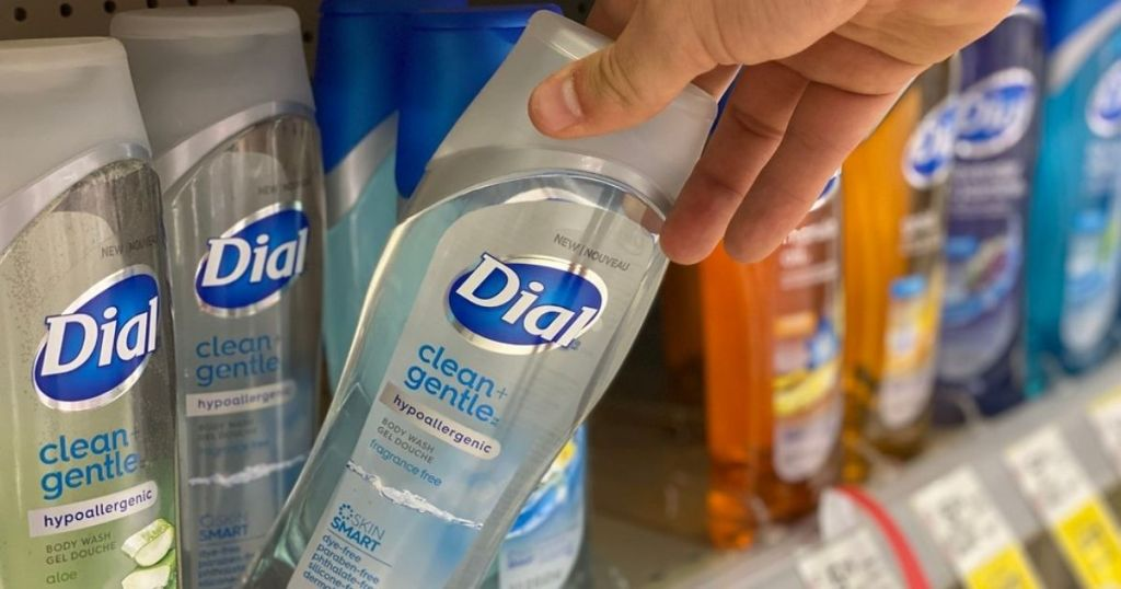 man holding dial body wash