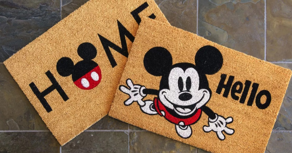 2 mickey mouse coir mats