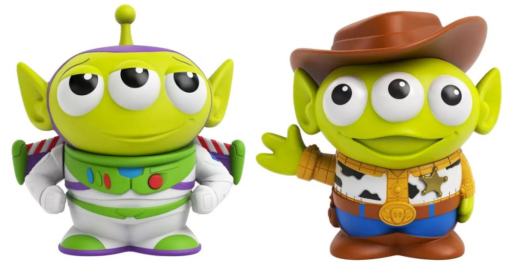 two toy story aliens dressed as woody & buzz
