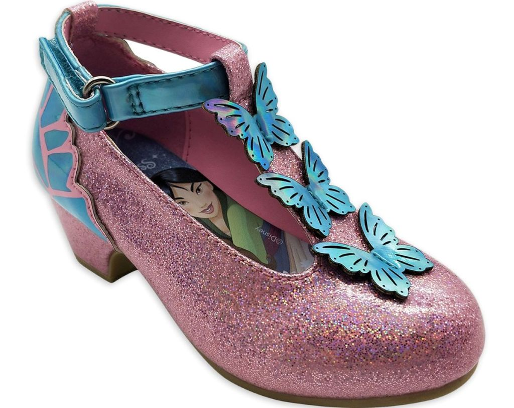 pink girls heeled shoe with blue butterflies