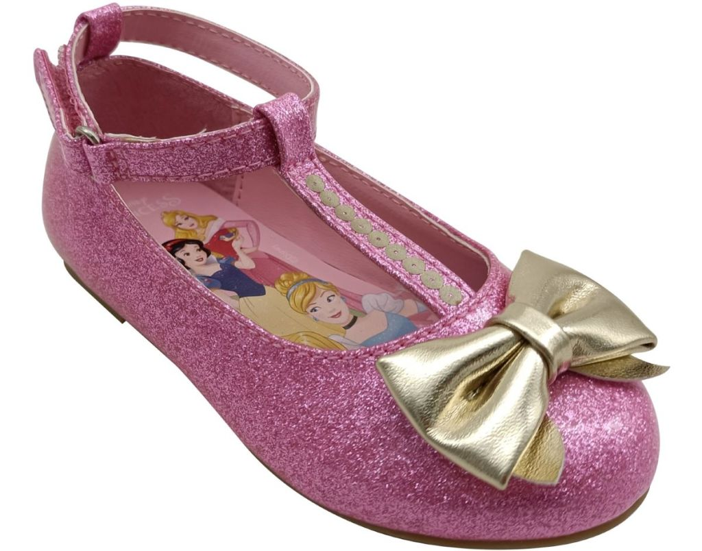 pink shoe with gold bow
