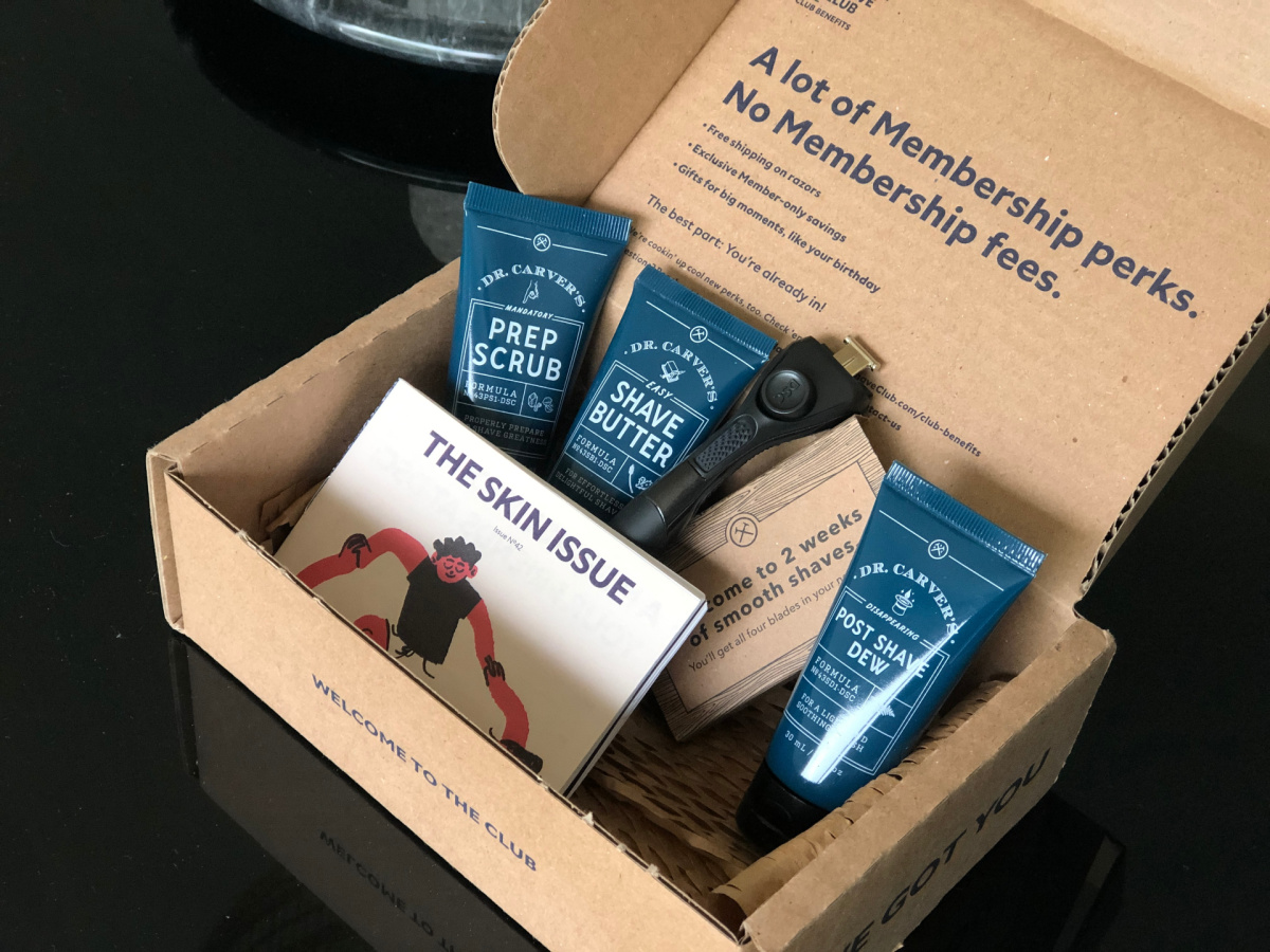 dollar shave club products in box