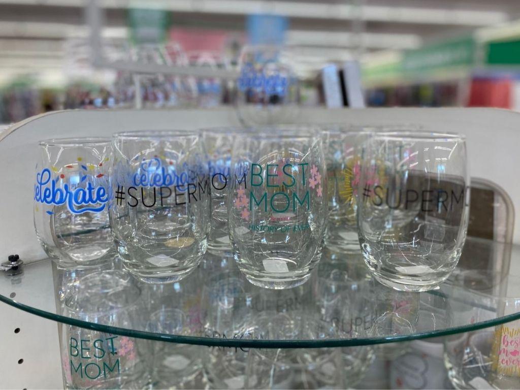 """mom"" stemless wine glasses"