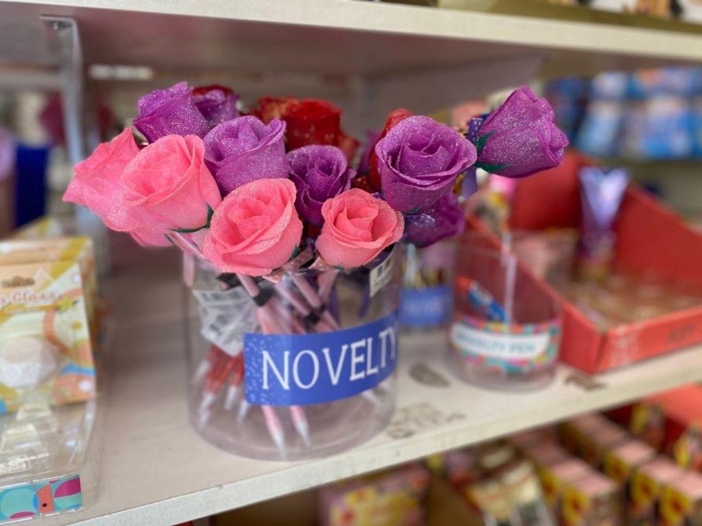 sparkly rose pens