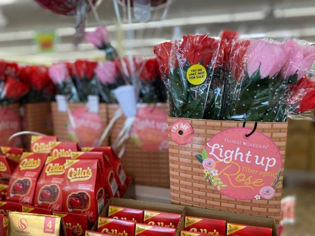 fiberoptic light up roses in store