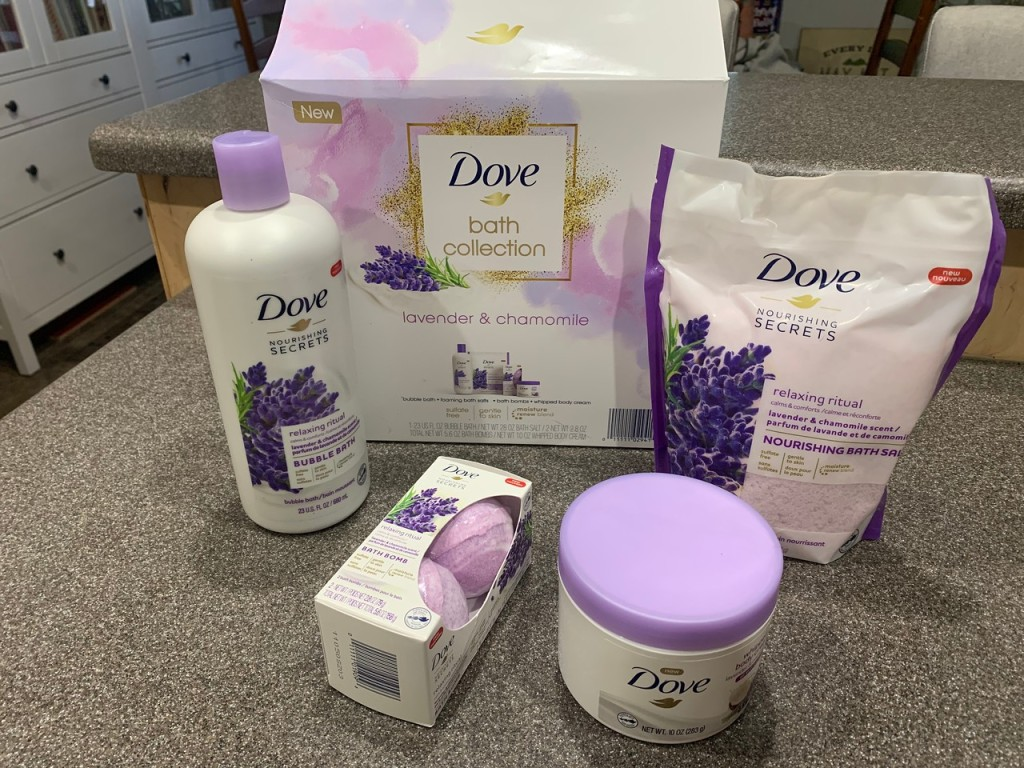 Dove Bath Collection with contents open