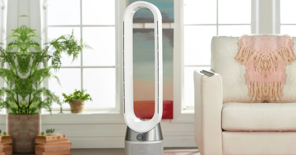 dyson pure cool hepa filter in a living room