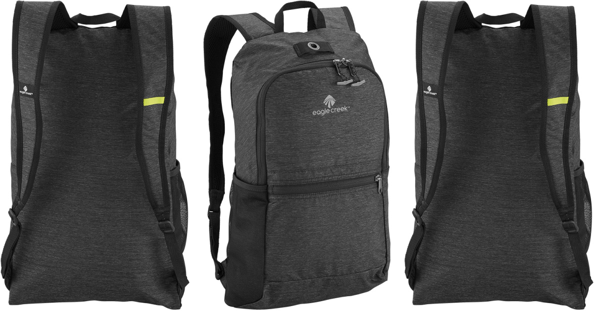 Front and back view of a large black backpack