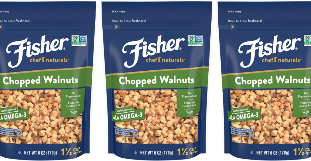 3 bags of fisher nuts chopped walnuts