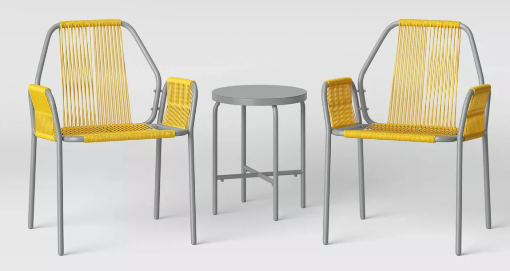 two chairs and a small table