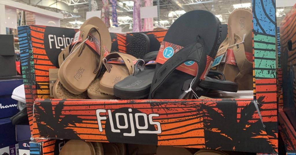 In-store display of Flojos sandles