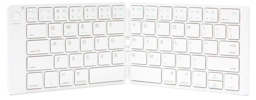 white wireless keyboard folding in half