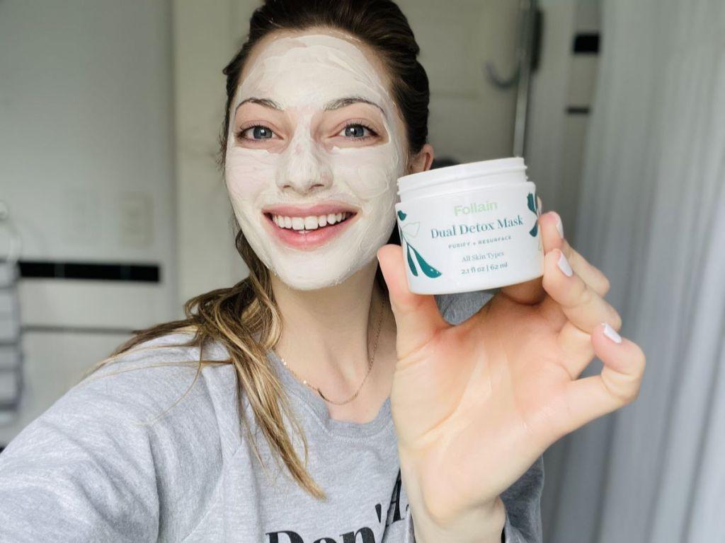 woman wearing a beauty face mask