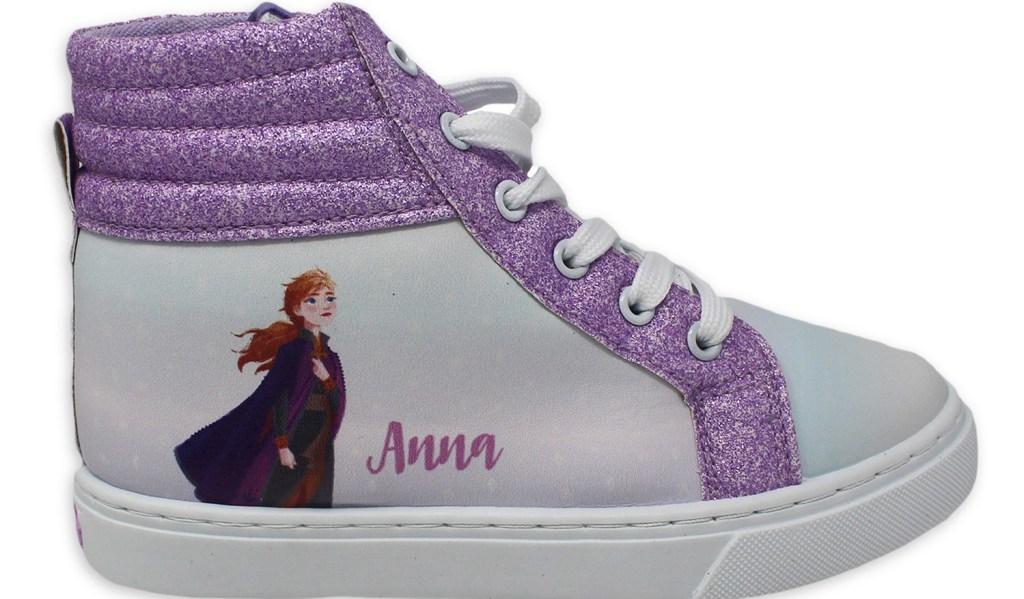 white and purple Disney Frozen sneakers
