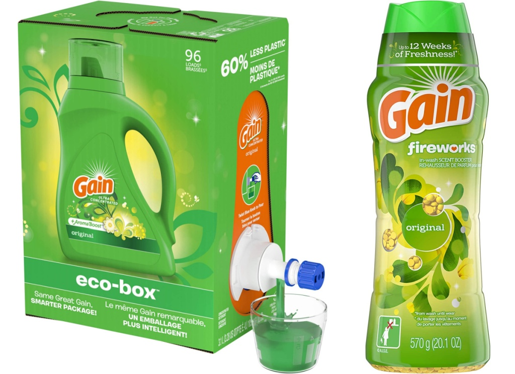 gain laundry detergent and gian in-wash scent booster