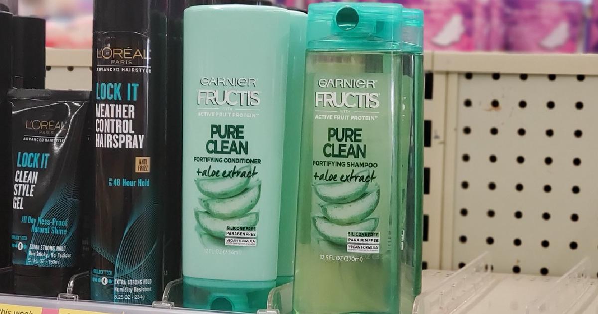 Garnier Pure Clean Haircare on store shelf